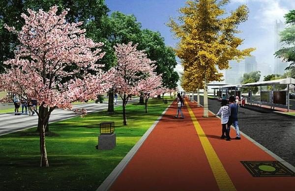 街道绿地手绘效果图